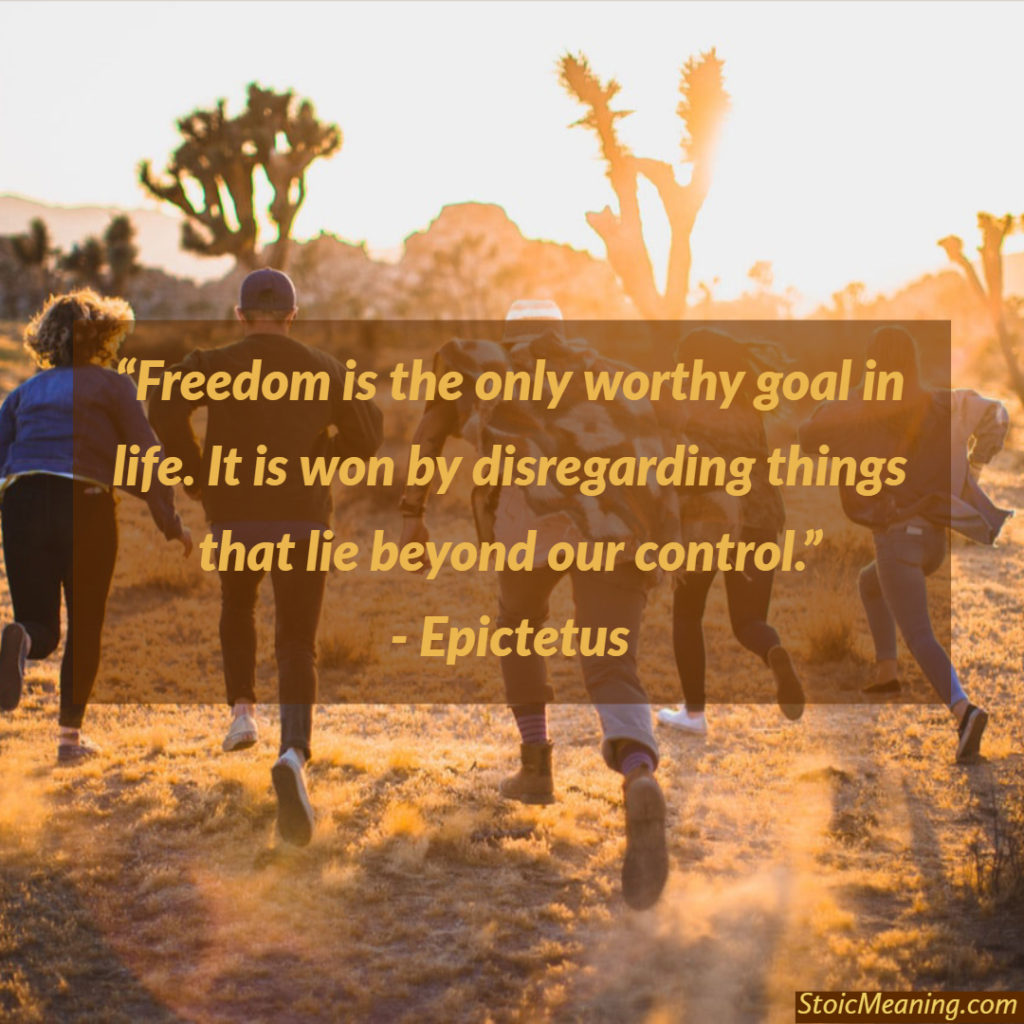 Freedom is the only worthy goal in life. It is won by disregarding things that lie beyond our control.
