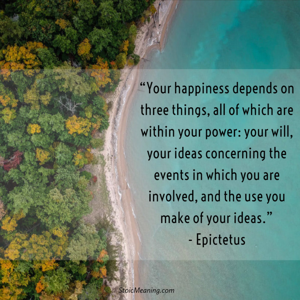 Your happiness depends on three things, all of which are within your power: your will, your ideas concerning the events in which you are involved, and the use you make of your ideas.